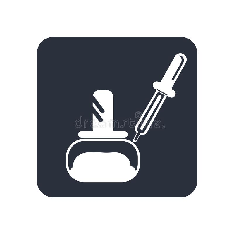 Garrafa pequena da medicina com o conta-gotas incluído para o sinal e o símbolo do vetor do ícone da dosagem das gotas isolada no ilustração stock