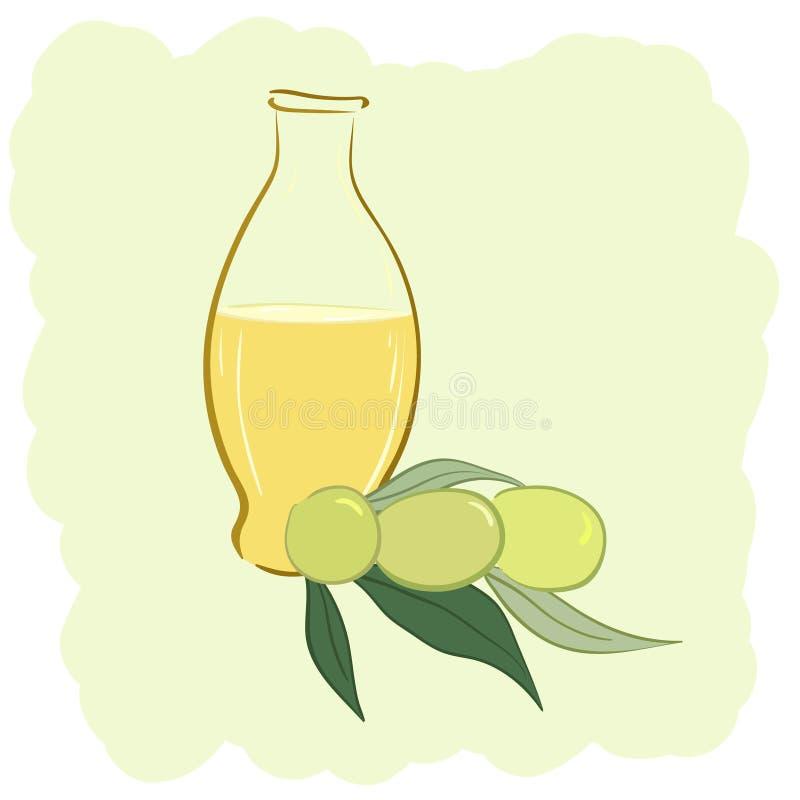 Garrafa pequena do azeite e das duas azeitonas ilustração do vetor