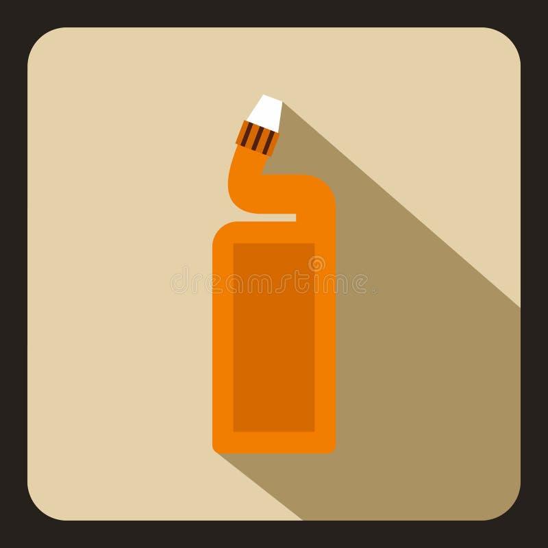 Garrafa plástica alaranjada do ícone do líquido de limpeza do dreno ilustração do vetor