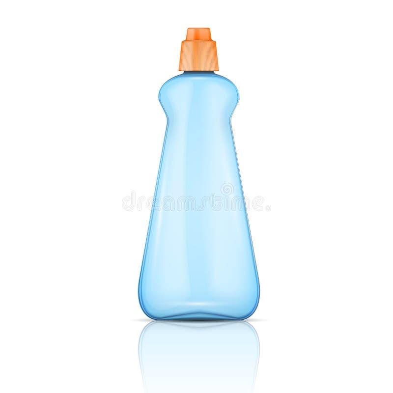 Garrafa plástica azul com tampão alaranjado. ilustração royalty free