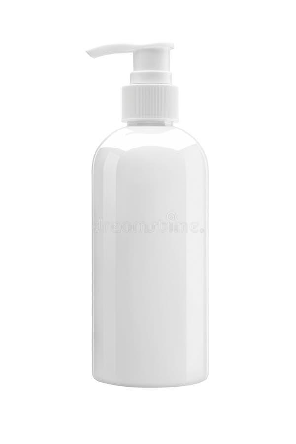 Garrafa plástica branca com a bomba, usada para o sabão líquido, champô imagens de stock