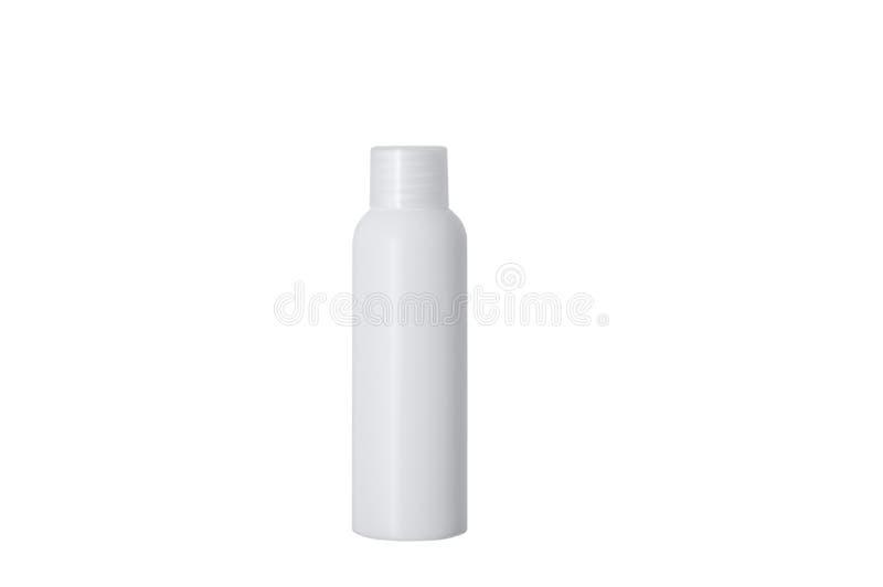 Garrafa plástica branca com um tampão branco fotos de stock royalty free