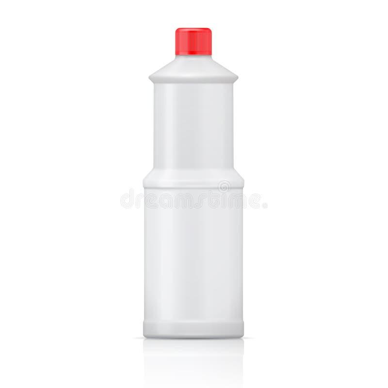 Garrafa plástica branca para o descorante. ilustração do vetor