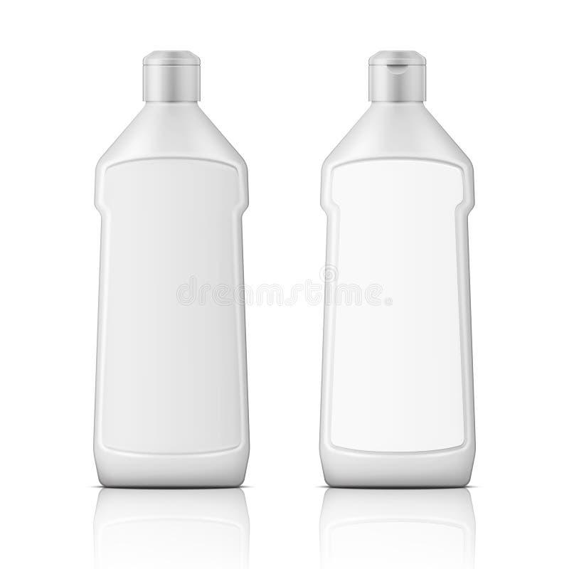 Garrafa plástica branca para o descorante com etiqueta ilustração royalty free