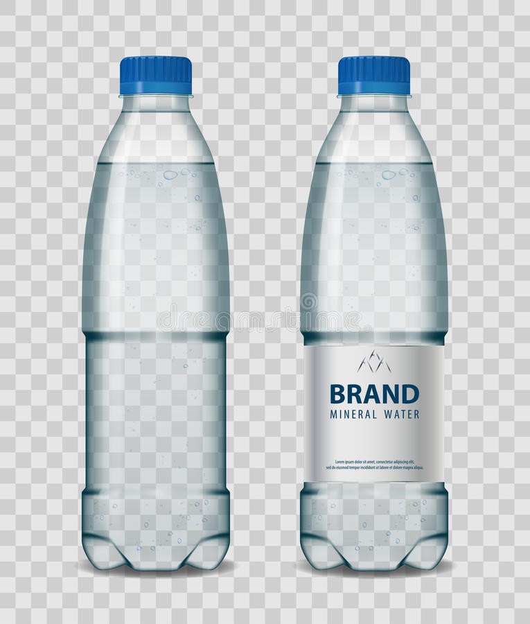 Garrafa plástica com água mineral com o tampão azul no fundo transparente Ilustração realística do vetor do modelo da garrafa ilustração stock