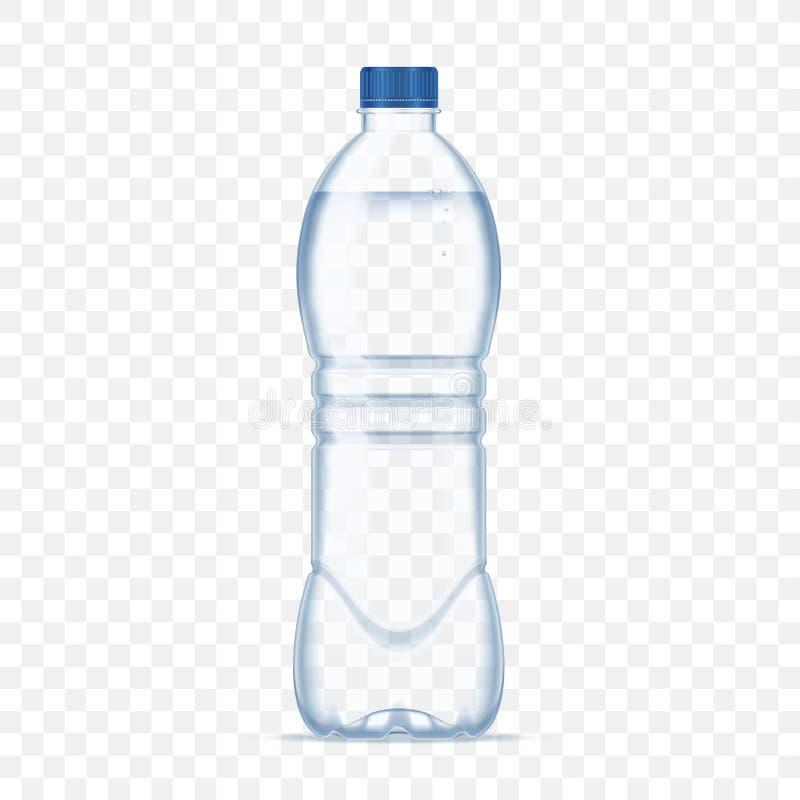 Garrafa plástica com água mineral no fundo transparente alfa Ilustração realística do vetor do modelo da garrafa da foto ilustração do vetor