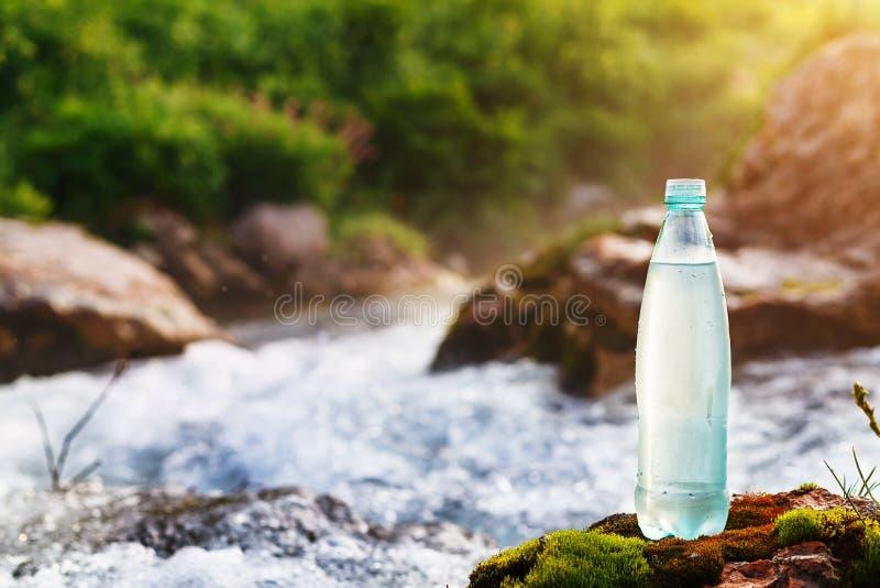 Garrafa plástica com água potável fresca no fundo de um córrego da montanha, no selvagem água fresca do ool imagens de stock