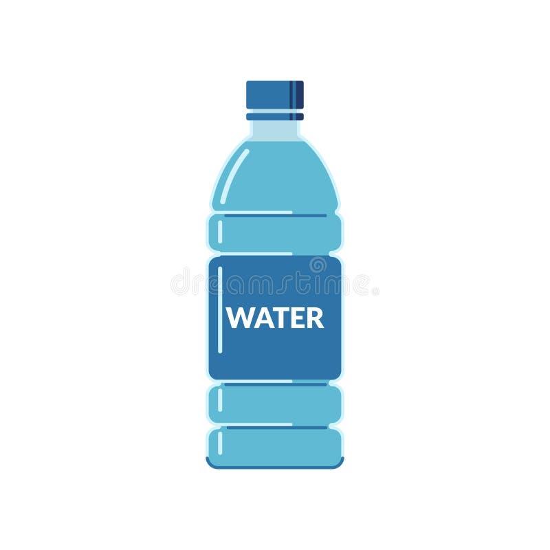 Garrafa plástica completamente da água com uma etiqueta em um fundo branco ?cone liso do estilo ilustração royalty free