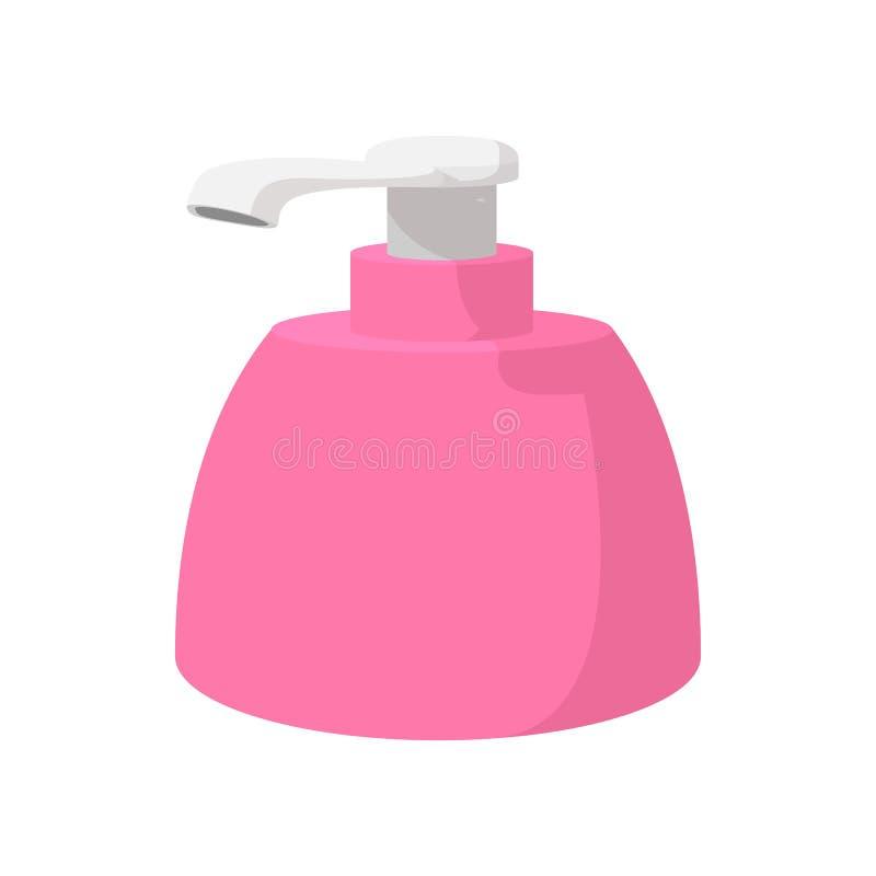 Garrafa plástica cor-de-rosa com ícone dos desenhos animados do sabão líquido ilustração do vetor