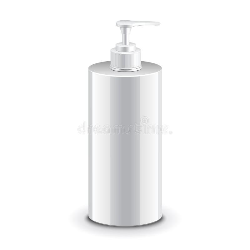 Garrafa plástica cosmética com bomba do distribuidor ilustração stock