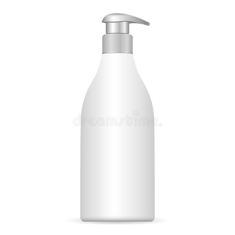 Garrafa plástica cosmética com distribuidor da bomba Ilustração do vetor EPS10 Recipiente líquido para o gel, loção, creme, champ ilustração royalty free