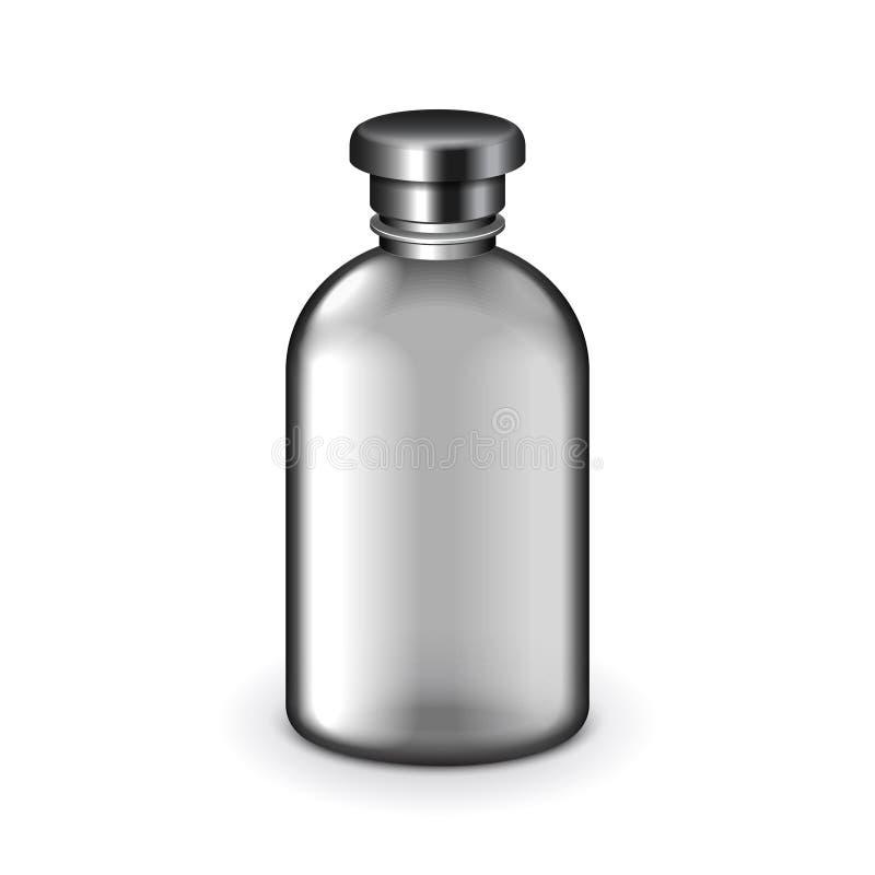 Garrafa plástica escura cosmética vetor isolado ilustração do vetor