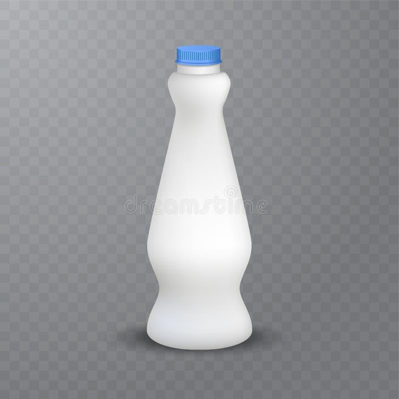 A garrafa plástica lustrosa branca com o tampão de parafuso para produtos láteos ordenha, iogurte da bebida, creme, sobremesa Emp ilustração royalty free