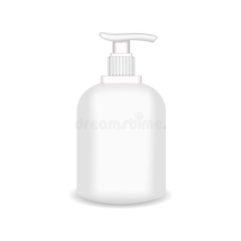 Garrafa plástica lustrosa branca para o champô, gel do chuveiro, loção, leite do corpo, espuma do banho Molde de empacotamento re ilustração royalty free