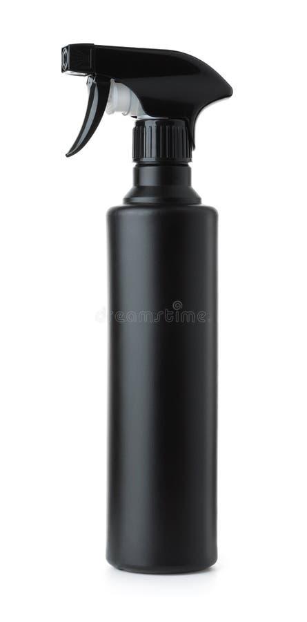 Garrafa plástica preta do pulverizador fotos de stock