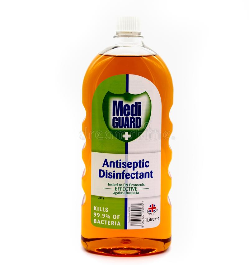 Garrafa plástica que contém o protetor Antiseptic Disinfectant de Medi imagem de stock