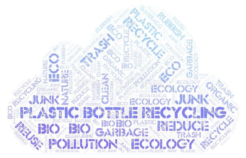 Garrafa plástica que recicla a nuvem da palavra imagem de stock