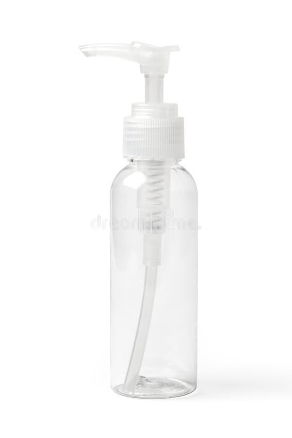 Garrafa plástica transparente vazia para produtos cosméticos fotografia de stock