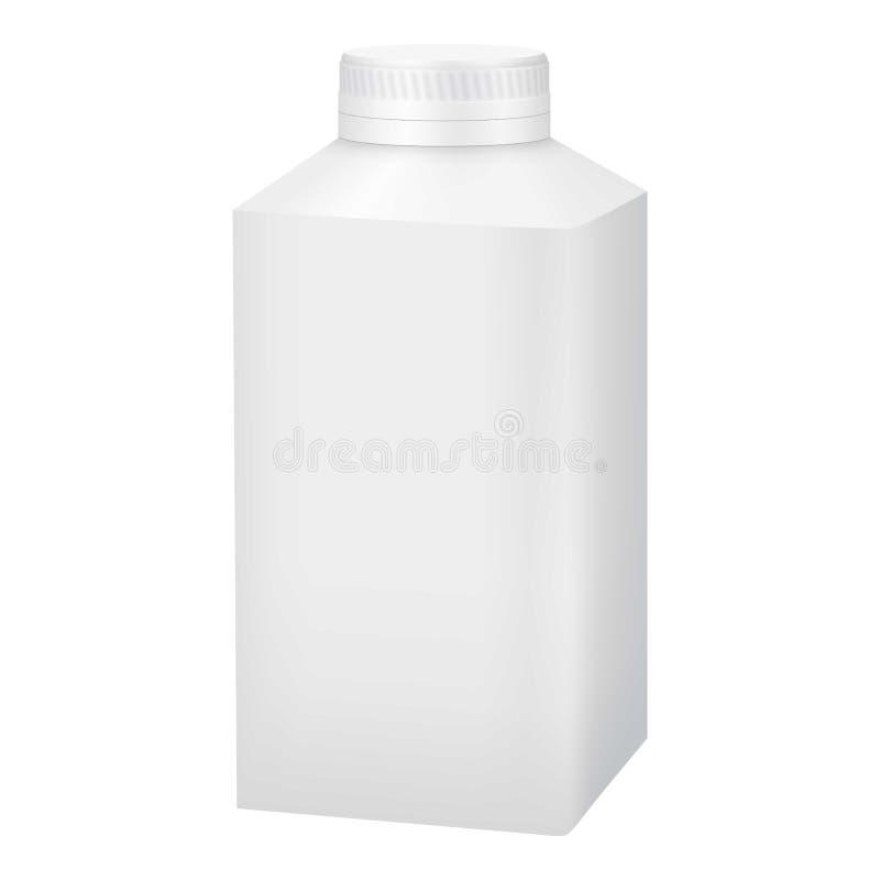 Garrafa plástica vazia branca com modelo do tampão ilustração stock