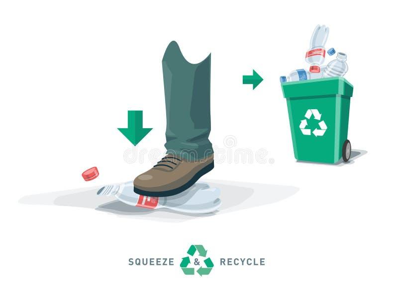 Garrafa plástica vazia do aperto do pé com escaninho de reciclagem ilustração do vetor
