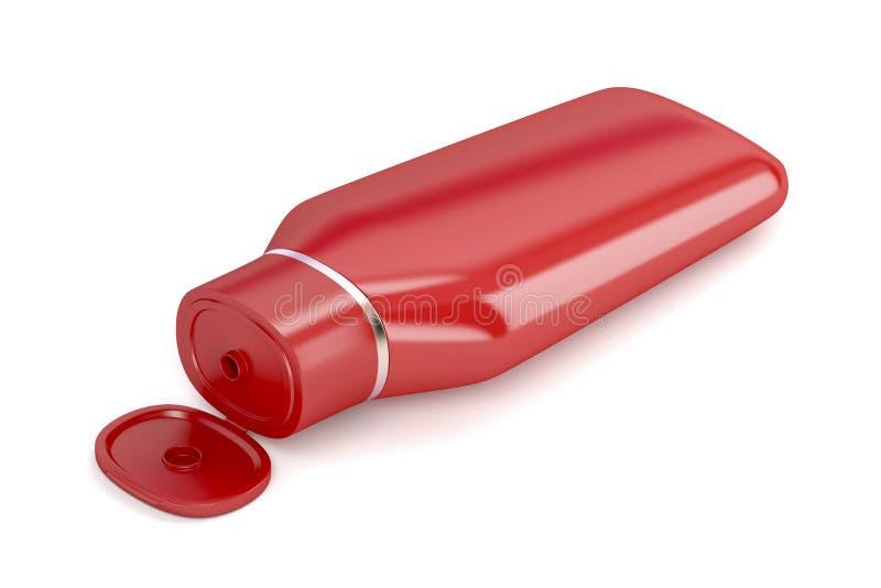 Garrafa plástica vermelha do champô ilustração royalty free