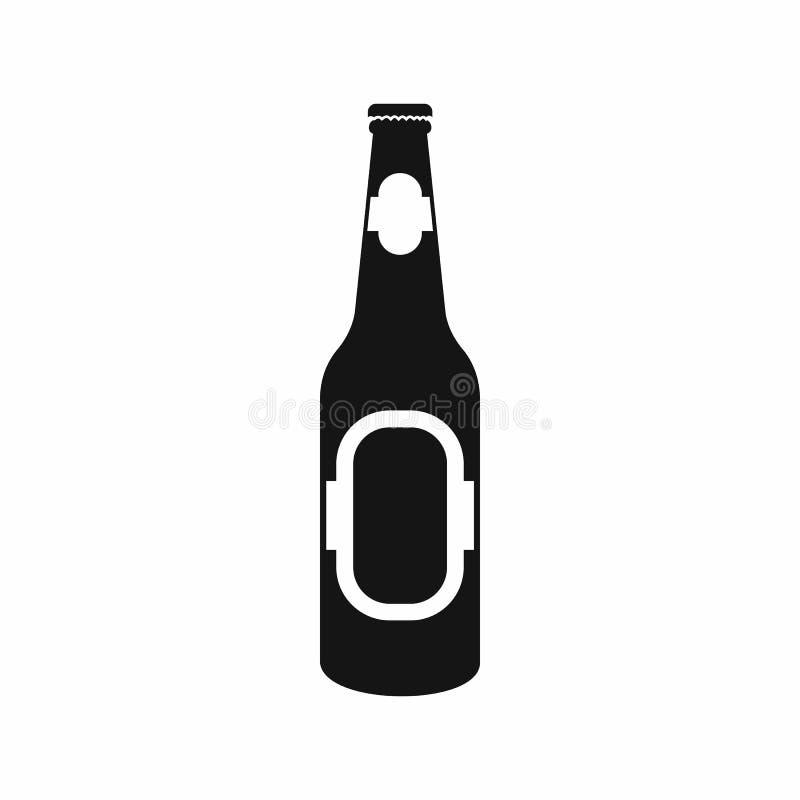 Garrafa preta do ícone da cerveja, estilo simples ilustração do vetor