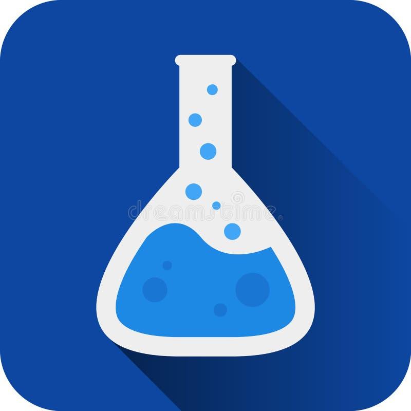 Garrafa química redonda azul do laboratório com ícone líquido Estilo liso do projeto ilustração stock