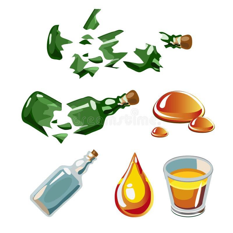 Garrafa quebrada, gota, álcool, vidro isolado ilustração royalty free