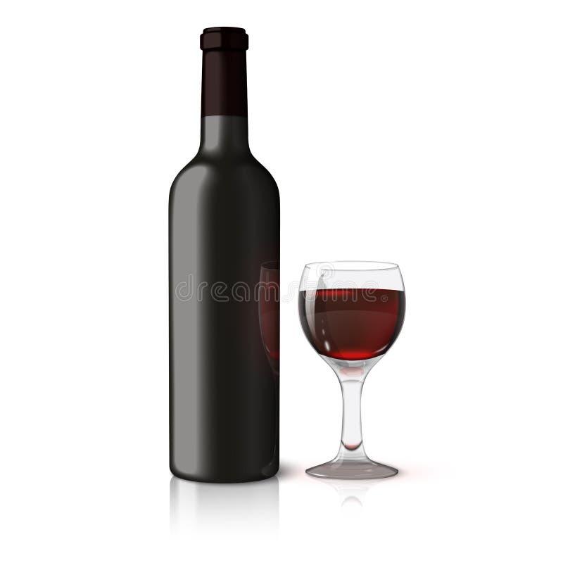 Garrafa realística preta vazia para o vinho tinto com ilustração stock