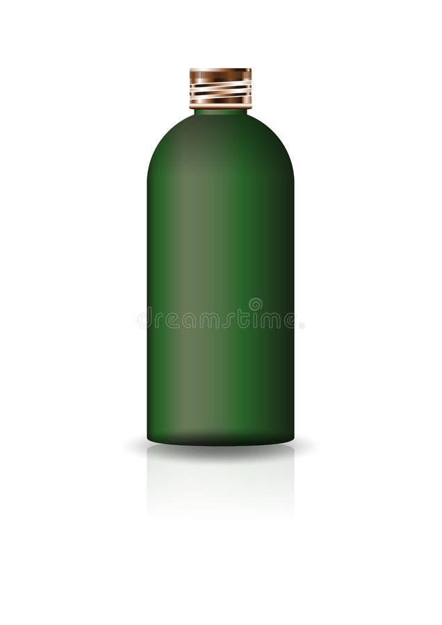 Garrafa redonda cosmética verde vazia com a tampa de cobre para a beleza ou o produto saudável ilustração do vetor