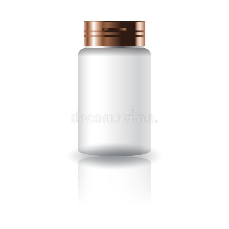 Garrafa redonda da medicina branca vazia com a tampa do tampão para o empacotamento saudável do produto ilustração do vetor