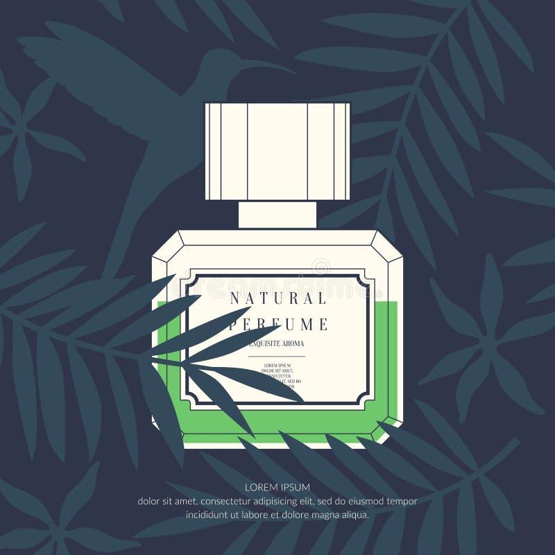 Garrafa retro clássica do perfume em um fundo tropical ilustração royalty free