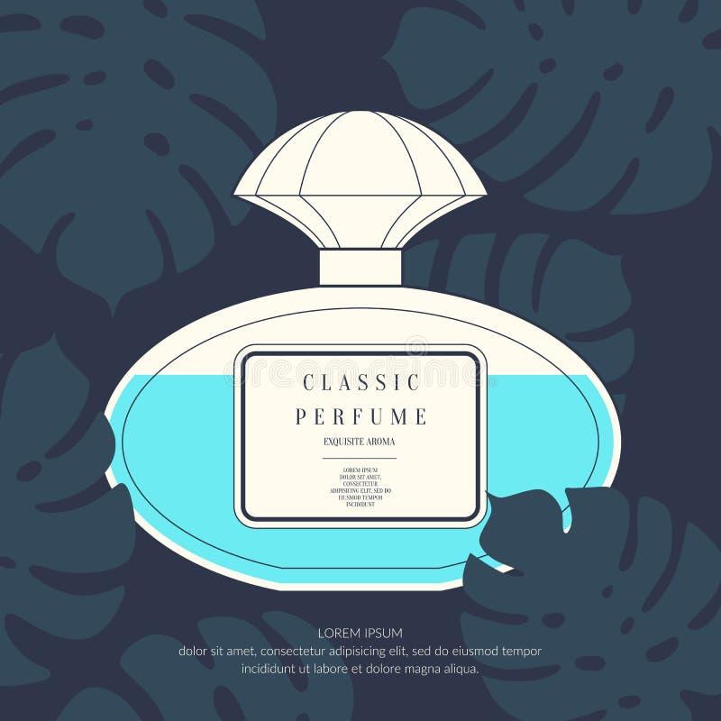 Garrafa retro clássica do perfume em um fundo tropical ilustração do vetor