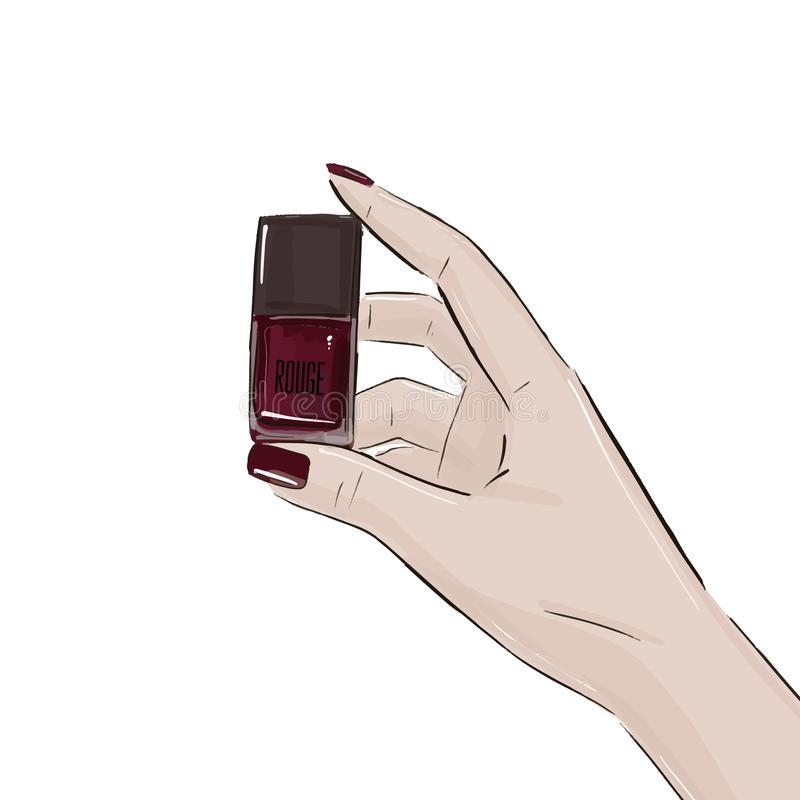 Garrafa roxa com verniz para as unhas Cosméticos luxuosos que anunciam a garrafa Cuidado de empacotamento do tratamento de mãos d ilustração do vetor
