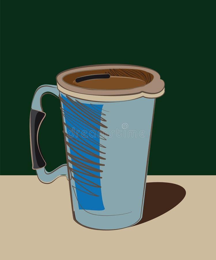 Garrafa térmica azul da caneca com punho foto de stock royalty free
