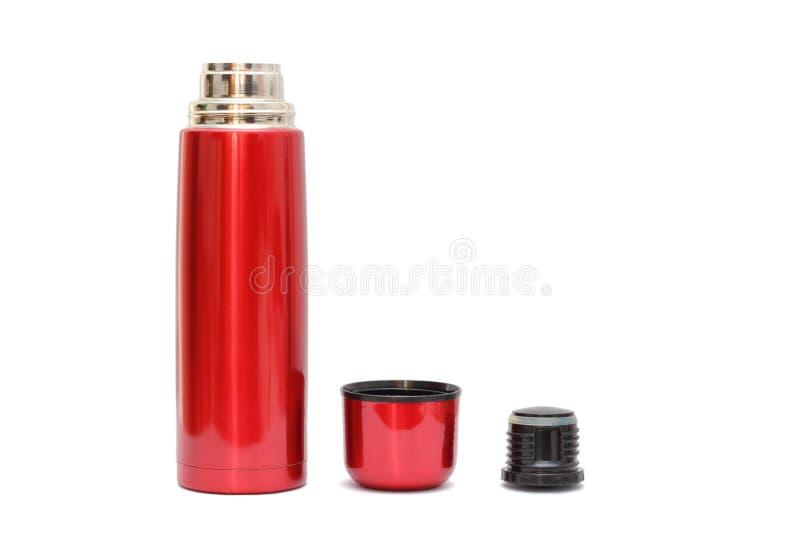 Garrafa thermo vermelha fotografia de stock