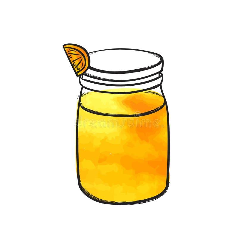 A garrafa tirada mão do vetor com suco de laranja, vidro do batido, desenho colorido da aquarela isolou-se ilustração stock