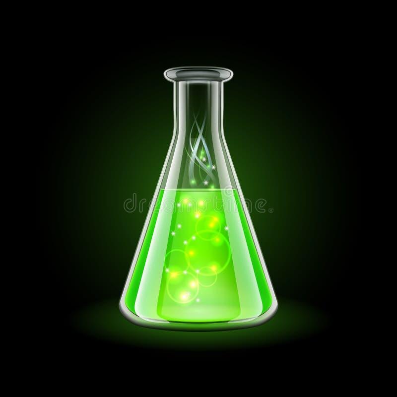 Garrafa transparente com líquido verde mágico no preto ilustração do vetor