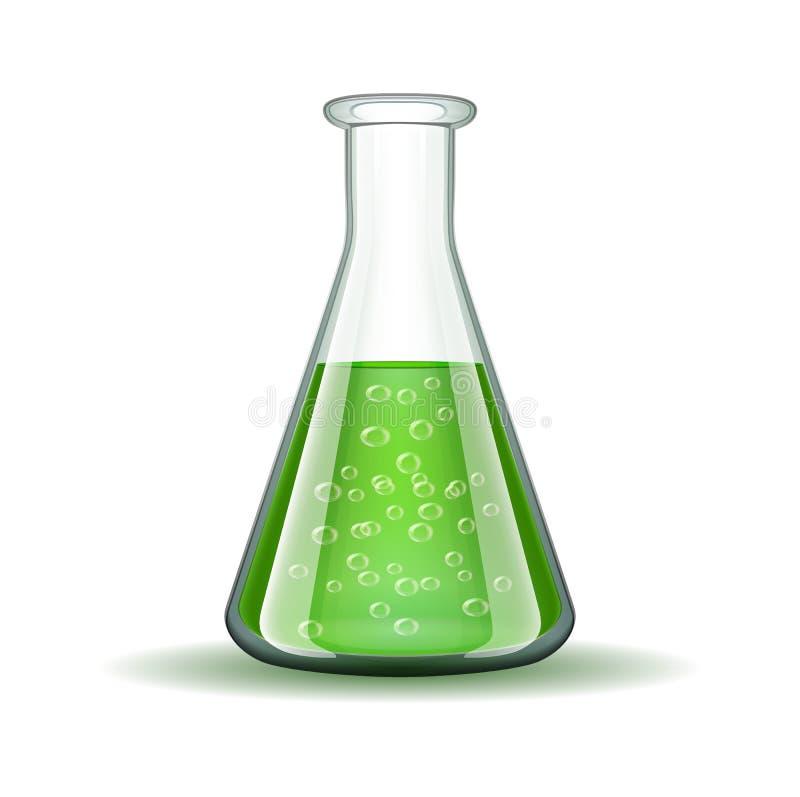 Garrafa transparente do laboratório químico com verde ilustração royalty free