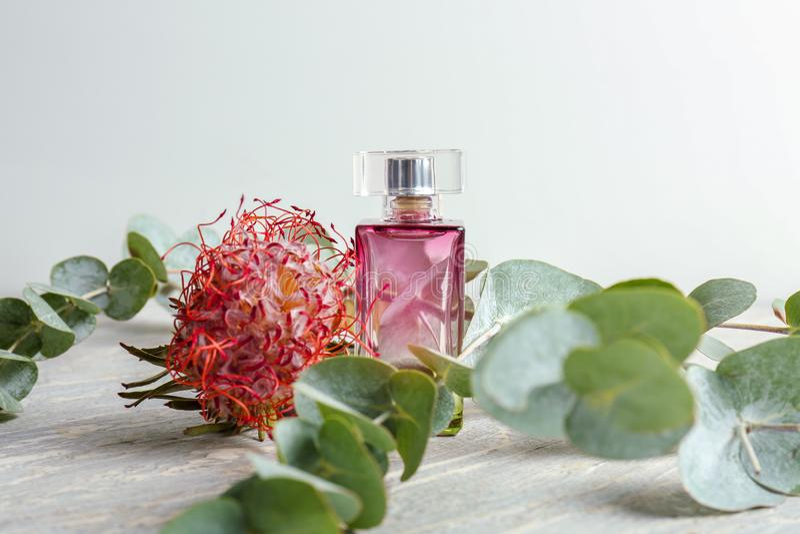Garrafa transparente do perfume com a flor na tabela branca imagens de stock