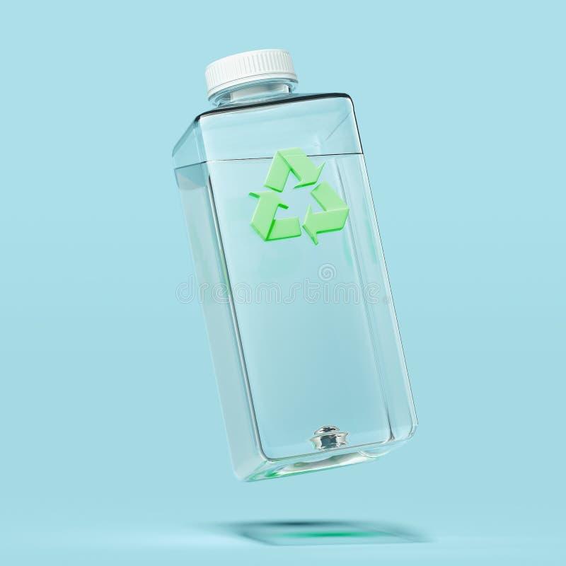 Garrafa transparente plástica com reciclagem do sinal no fundo azul rendi??o 3d ilustração do vetor