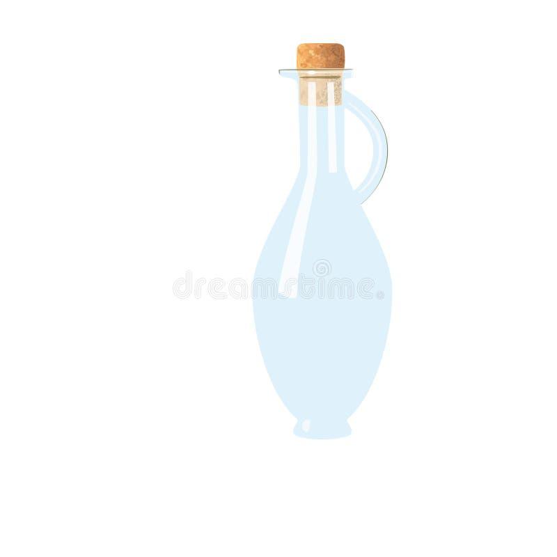 Garrafa vac?a de cristal con el corcho, manija jarra helado-blanca tranparent en el fondo blanco stock de ilustración