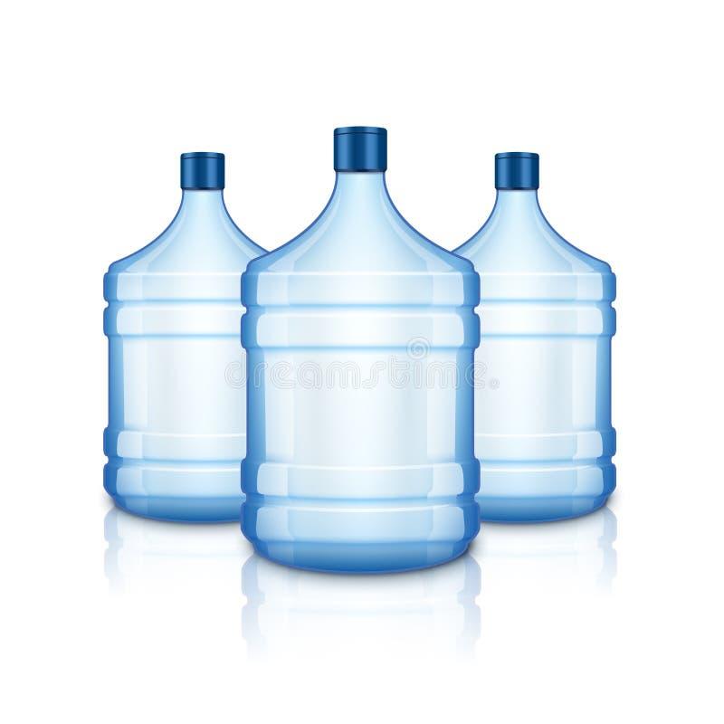 Garrafa vazia da água do vetor Grande garrafa transparente azul grande plástica para a agua potável, isolada ilustração royalty free