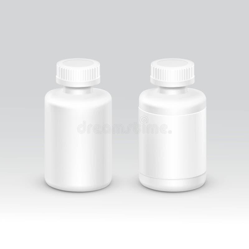 Garrafa vazia do empacotamento plástico com o tampão para o vetor dos comprimidos no fundo ilustração do vetor