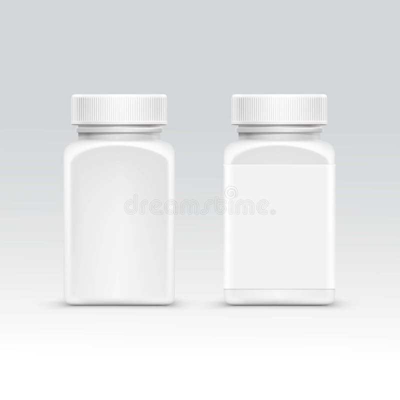 Garrafa vazia do empacotamento plástico com o tampão para o vetor dos comprimidos no fundo ilustração stock