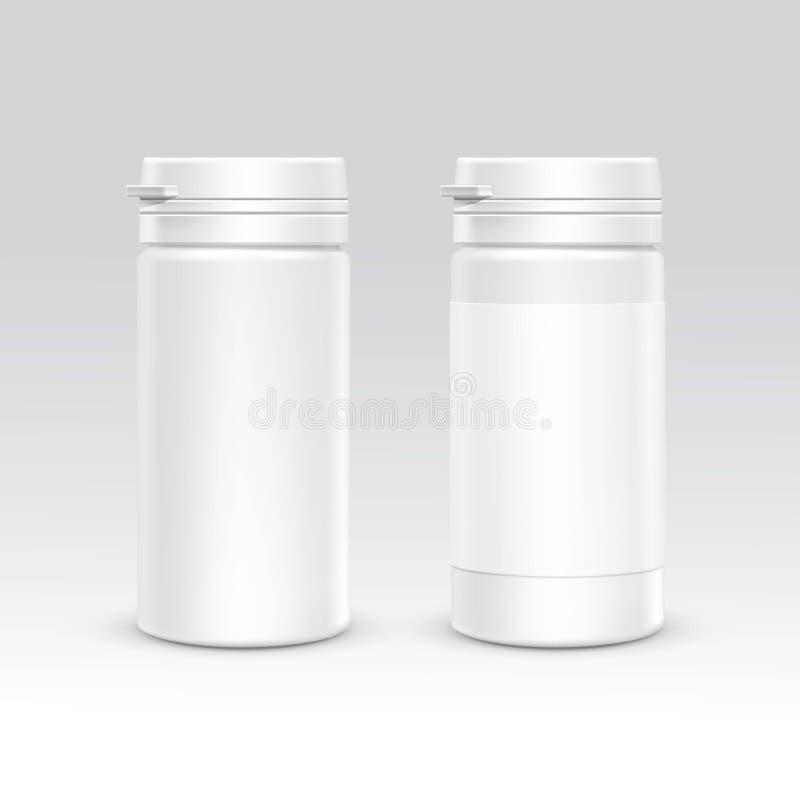 Garrafa vazia do empacotamento plástico com o tampão para o vetor dos comprimidos no fundo ilustração royalty free