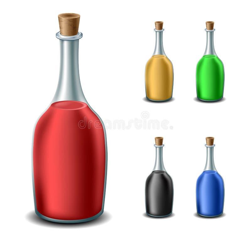 Garrafa velha ajustada com líquidos diferentes foto de stock