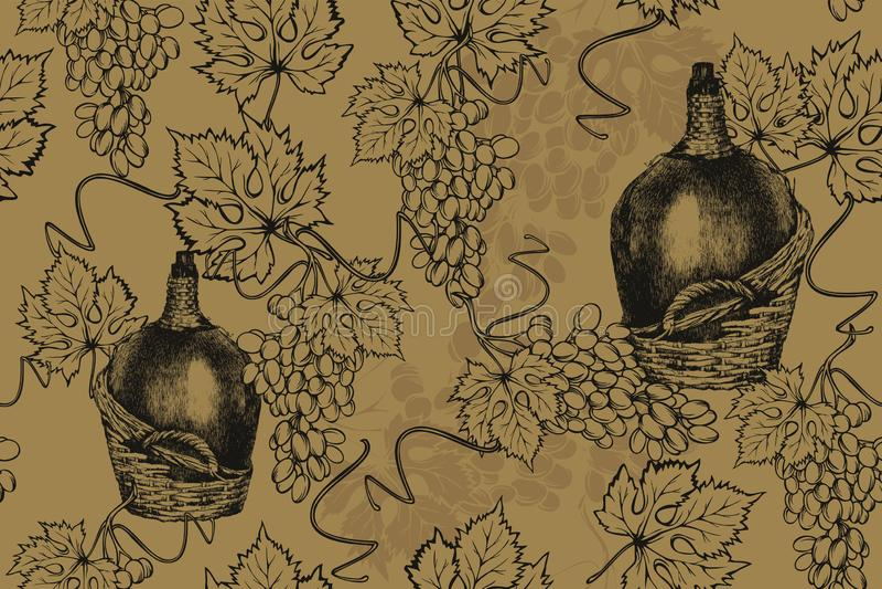 Garrafa velha do vinho com uvas, teste padrão sem emenda desenho da m?o, ilustra??o do vetor fotos de stock
