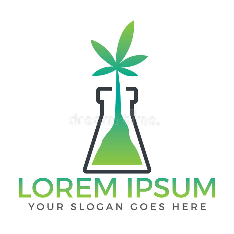 Garrafa verde com projeto do logotipo da folha do cannabis ilustração do vetor