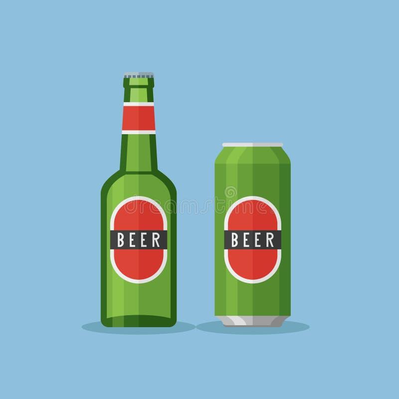A garrafa verde e pode com cerveja Ilustração lisa do vetor do estilo ilustração stock